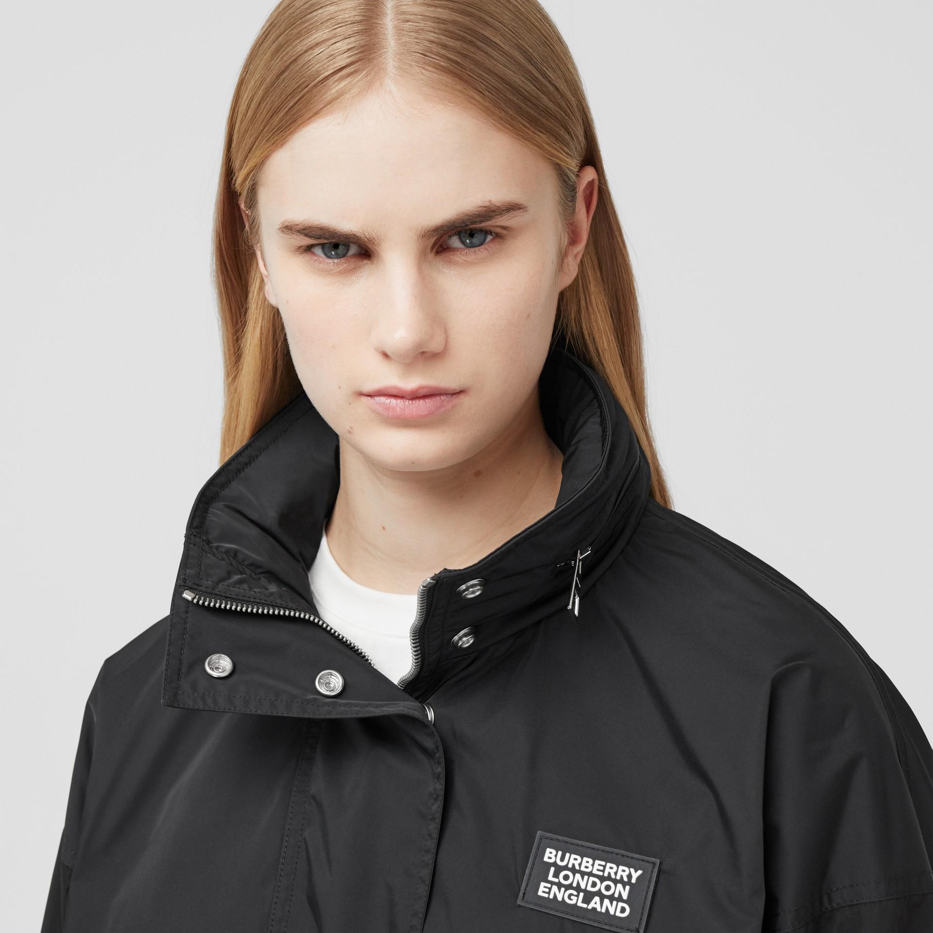 Packaway Hood Bio-based Nylon Jacket in Black - Women | Burberry - gallery image 1