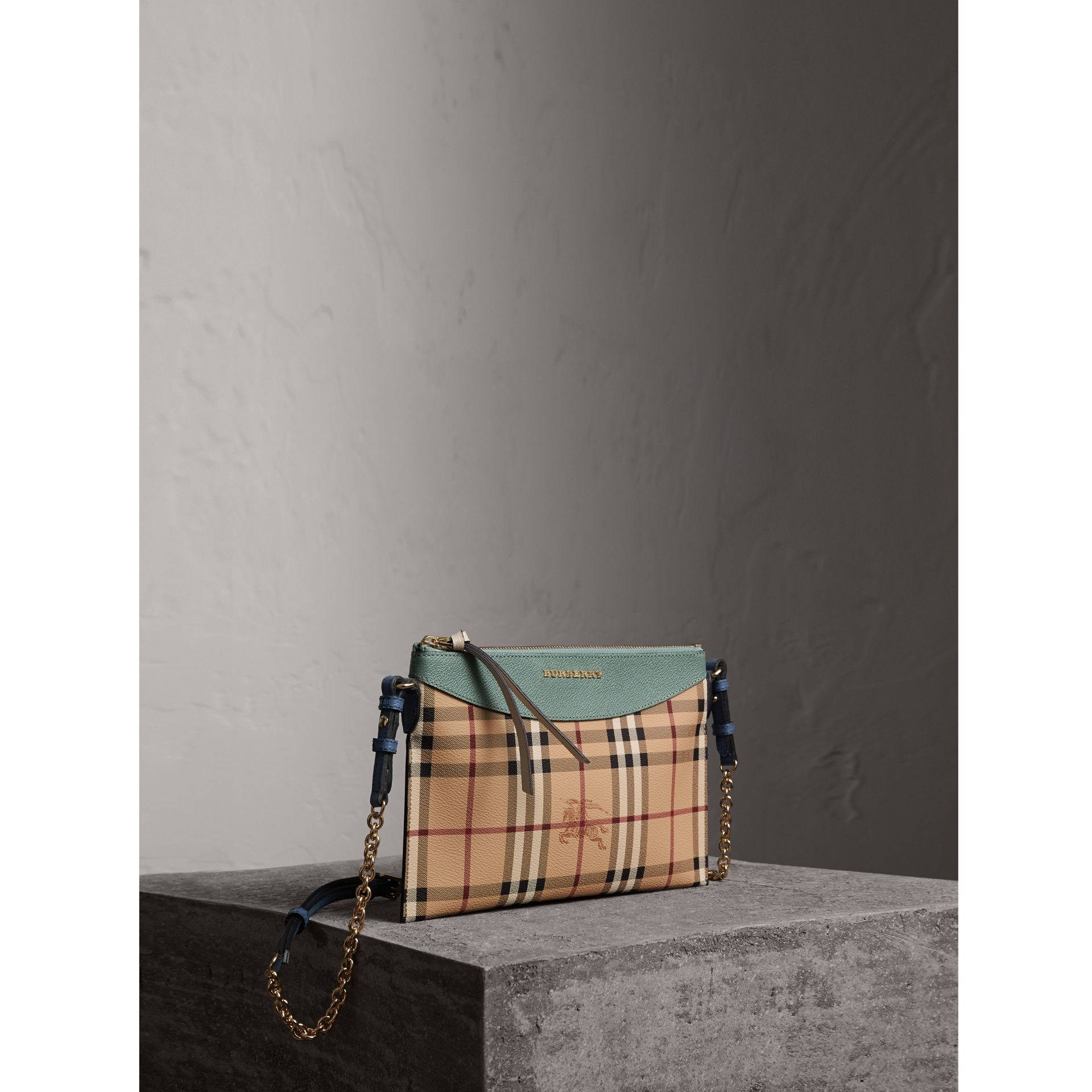 Haymarket Check and Two-tone Leather Clutch Bag in Eucalyptus Green/multicolour - Women | Burberry United States - gallery image 1
