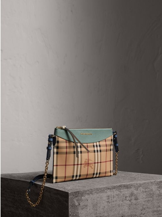 Haymarket Check and Two-tone Leather Clutch Bag in Eucalyptus Green/multicolour