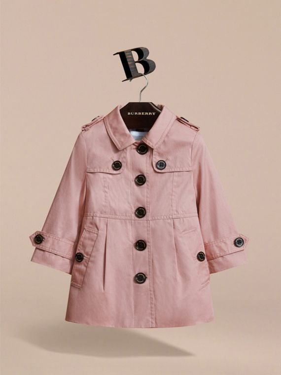 Trench-coat en coton à boutonnage simple (Rose Pâle) - Enfant | Burberry - cell image 2