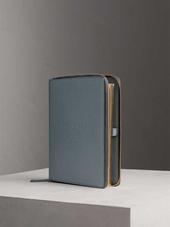 Embossed Leather Ziparound A5 Notebook Case in Dusty Teal Blue