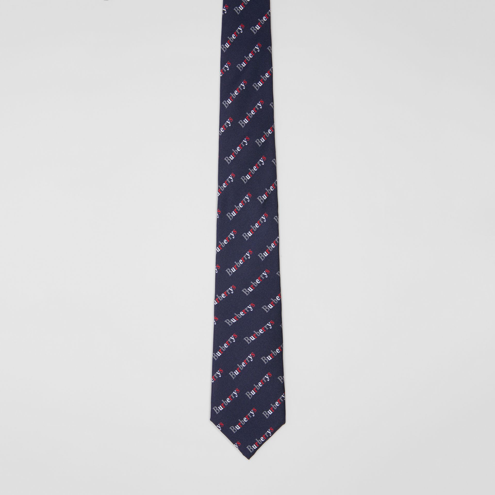 Modern Cut Archive Logo Print Silk Tie in Navy - Men | Burberry - gallery image 4