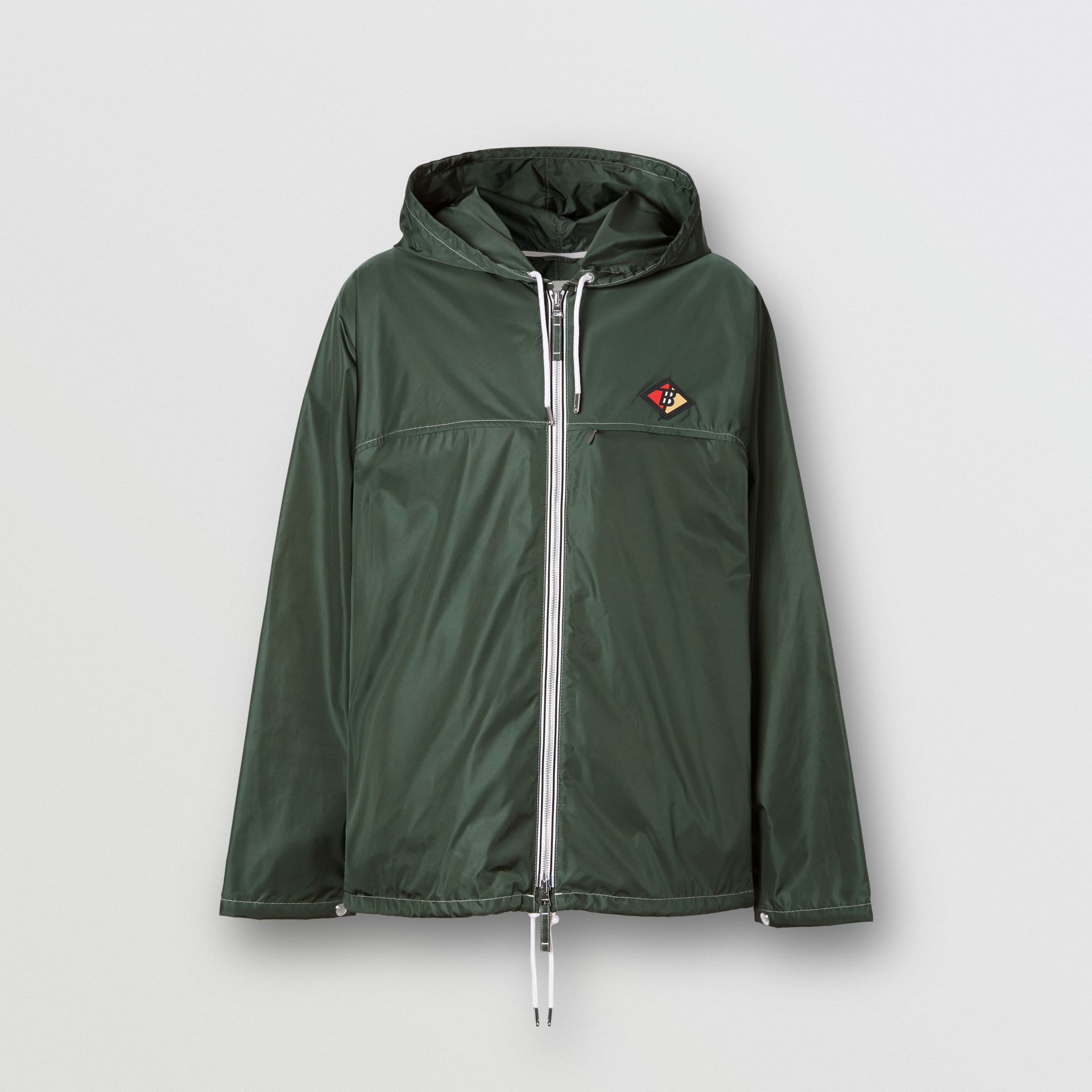 Logo Graphic Packaway Lightweight Hooded Jacket in Dark Pine Green - Men | Burberry - gallery image 3