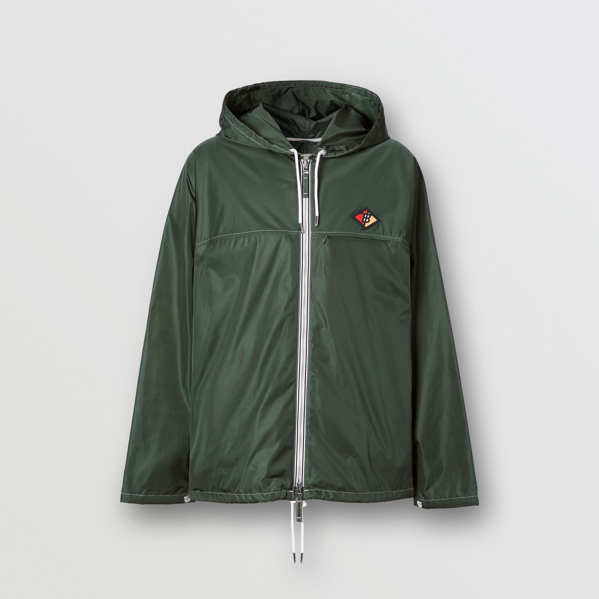 Logo Graphic Packaway Lightweight Hooded Jacket in Dark Pine Green - Men | Burberry - 4