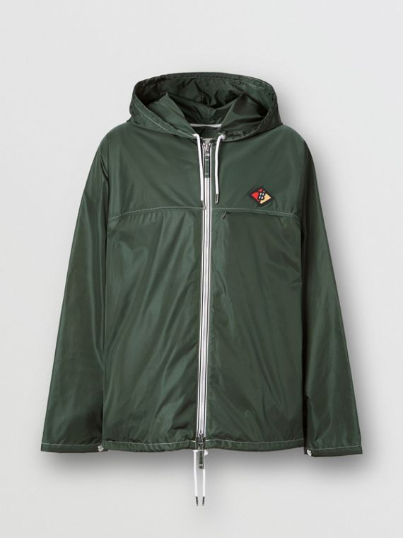 Logo Graphic Packaway Lightweight Hooded Jacket in Dark Pine Green