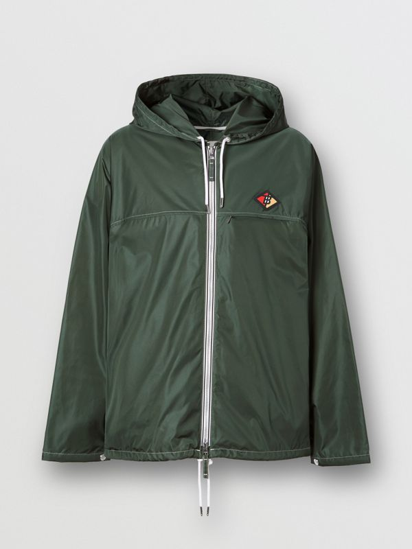 Logo Graphic Packaway Lightweight Hooded Jacket in Dark Pine Green - Men | Burberry - cell image 3