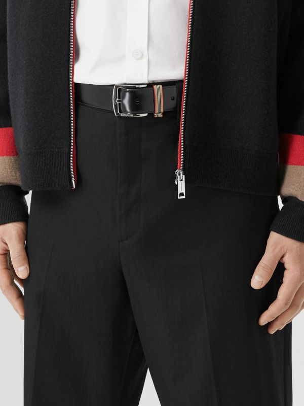 Icon Stripe Detail Leather Belt in Black | Burberry United Kingdom - cell image 2