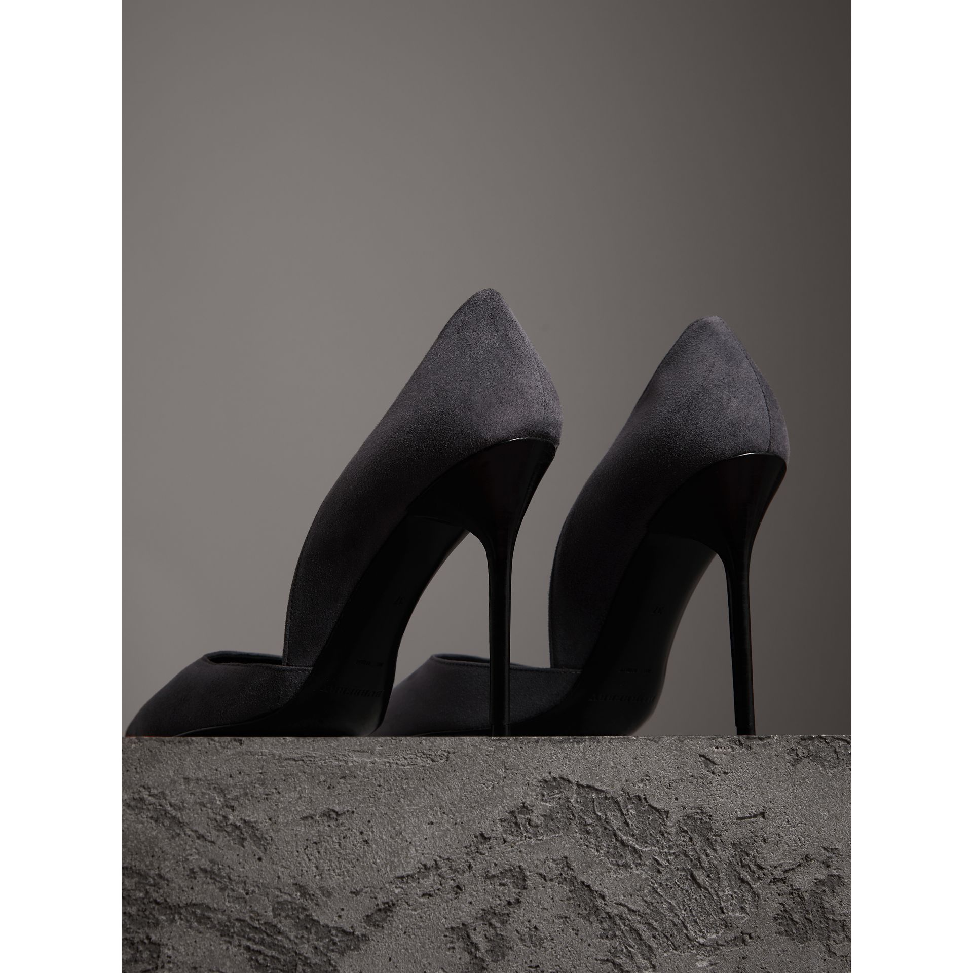 Cutaway Suede Pumps in Grey Navy - Women | Burberry - gallery image 2