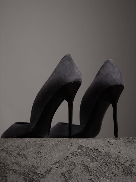 Cutaway Suede Pumps in Grey Navy - Women | Burberry - cell image 2