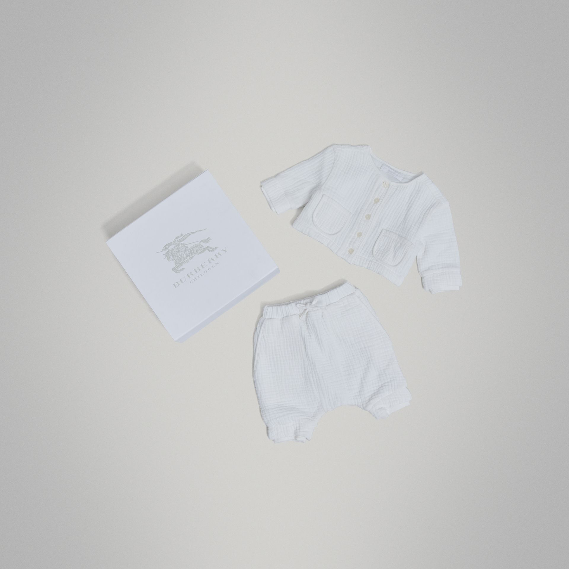 Cotton Two-piece Baby Gift Set in White | Burberry Singapore - gallery image 0