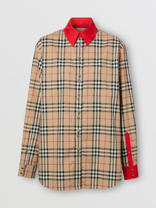 Camisa en algodón elástico a cuadros Vintage Checks con detalles a contraste (Beige) - Mujer | Burberry - cell image 3