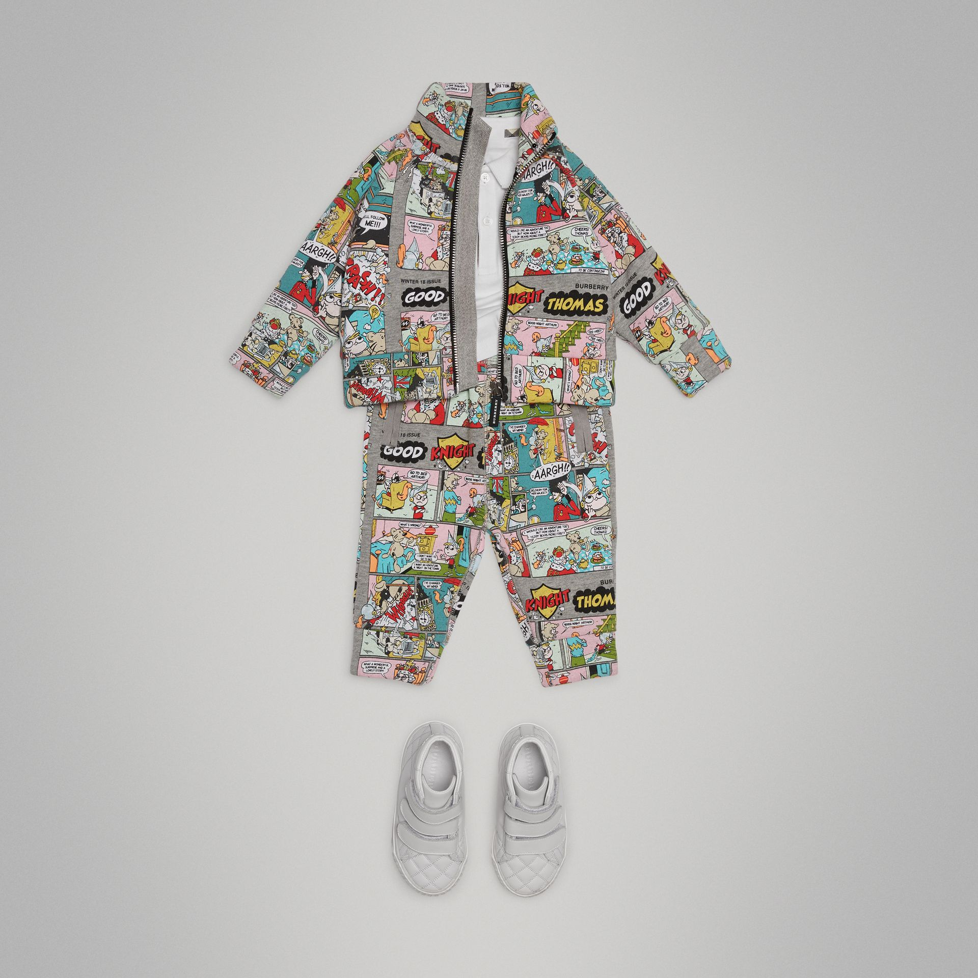 Comic Strip Print Cotton Track Pants in Multicolour - Children | Burberry - gallery image 2