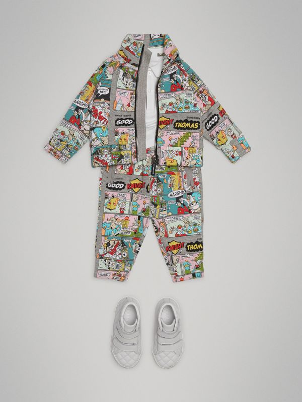 Comic Strip Print Cotton Track Pants in Multicolour - Children | Burberry - cell image 2