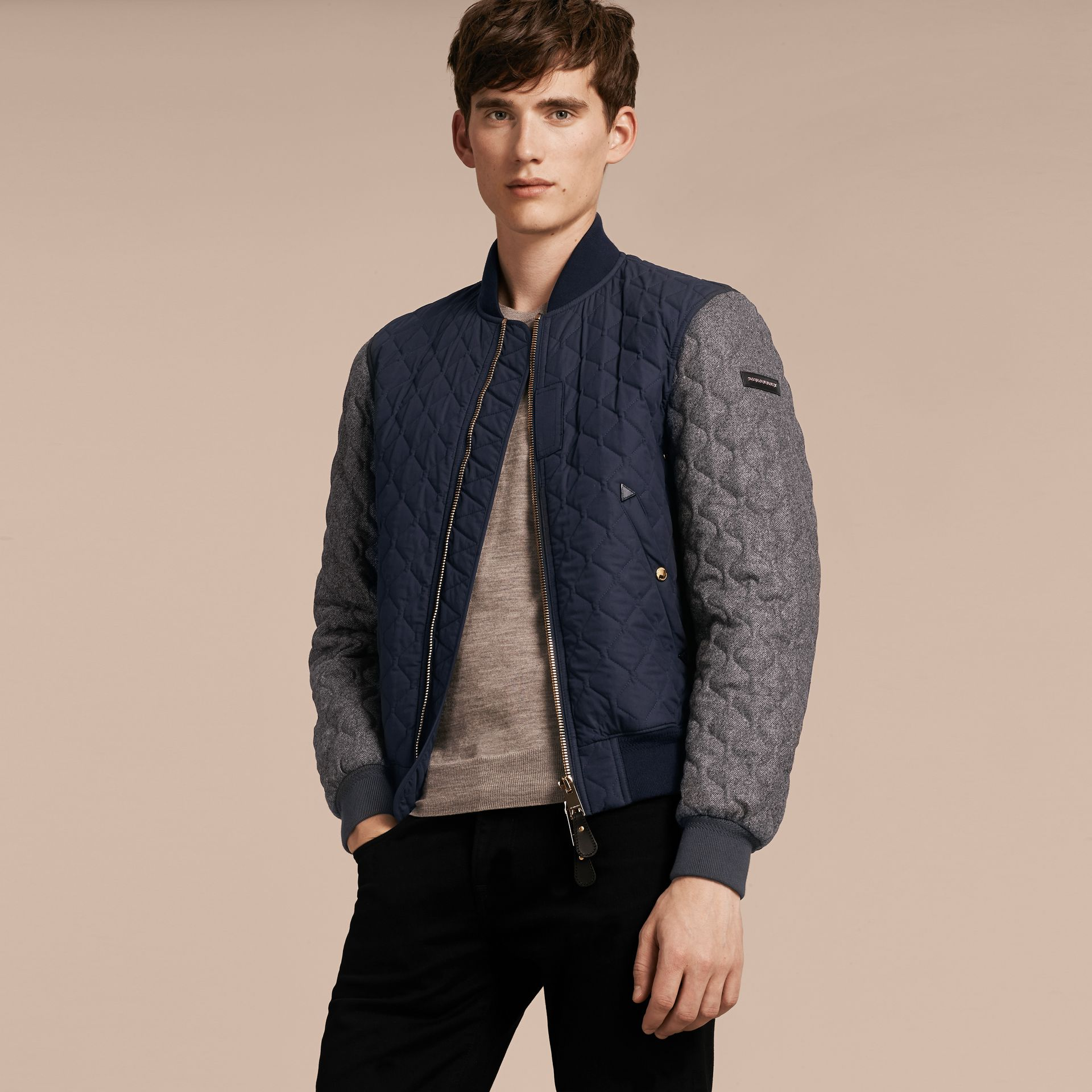 Navy Quilted Cotton and Wool Bomber Jacket - gallery image 6
