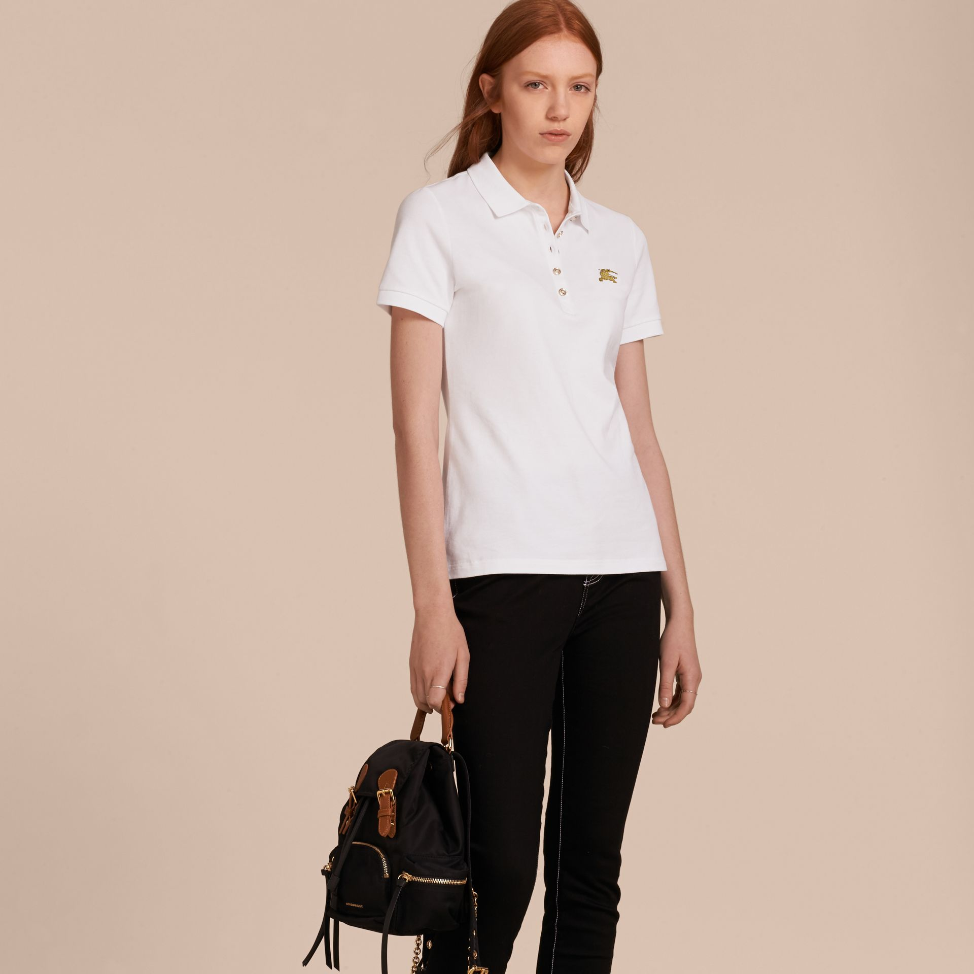 Stretch Cotton Piqué Polo Shirt in White - gallery image 6