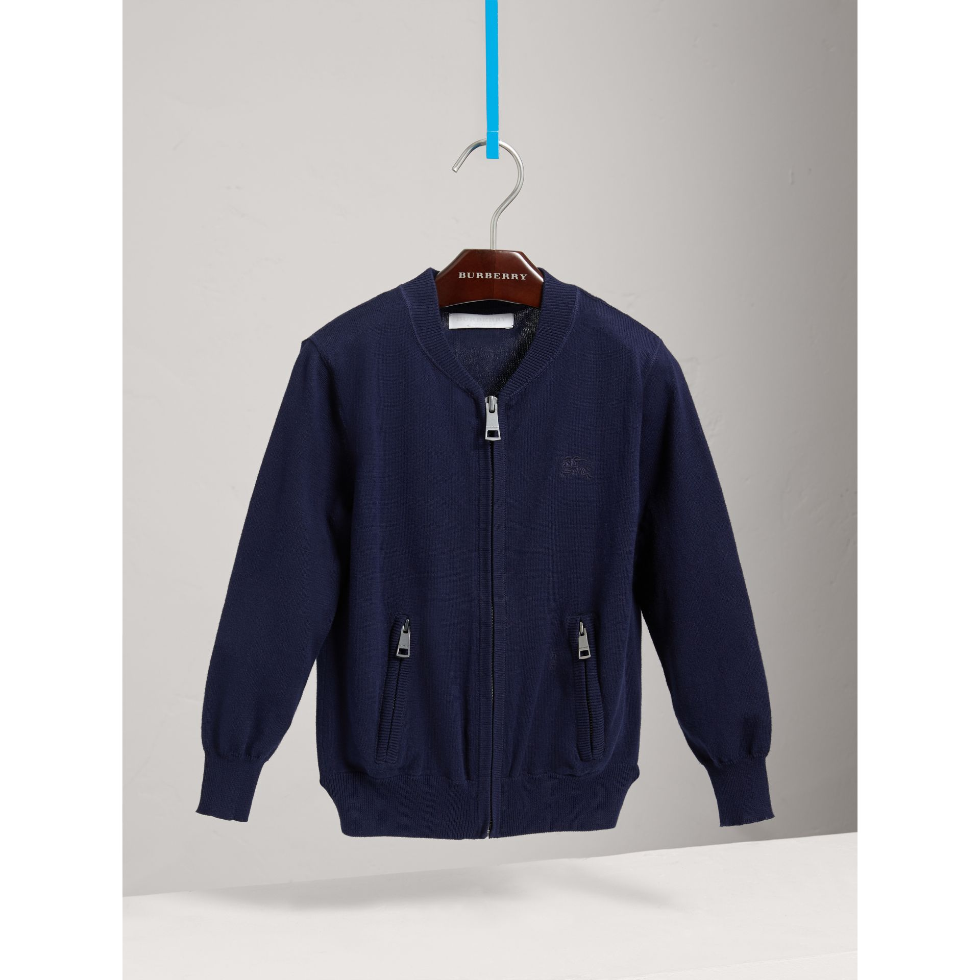 Check Elbow Patch Bomber Cardigan in Navy - Boy | Burberry Canada - gallery image 0