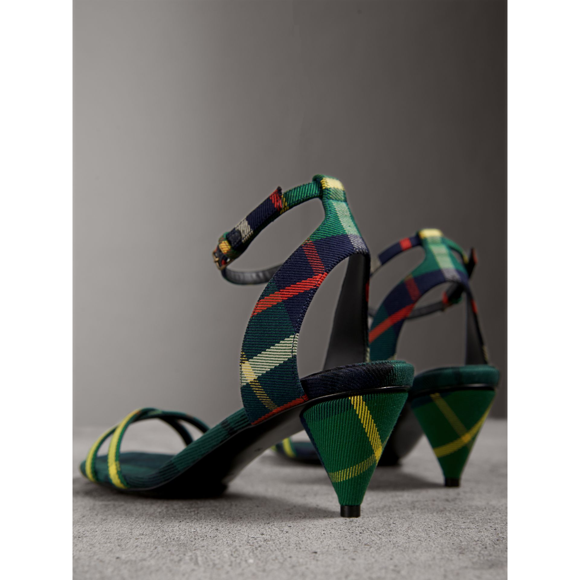Tartan Cotton Cone-heel Sandals in Forest Green - Women | Burberry Australia - gallery image 4