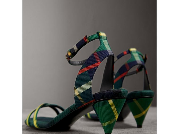 Tartan Cotton Cone-heel Sandals in Forest Green - Women | Burberry Australia - cell image 4