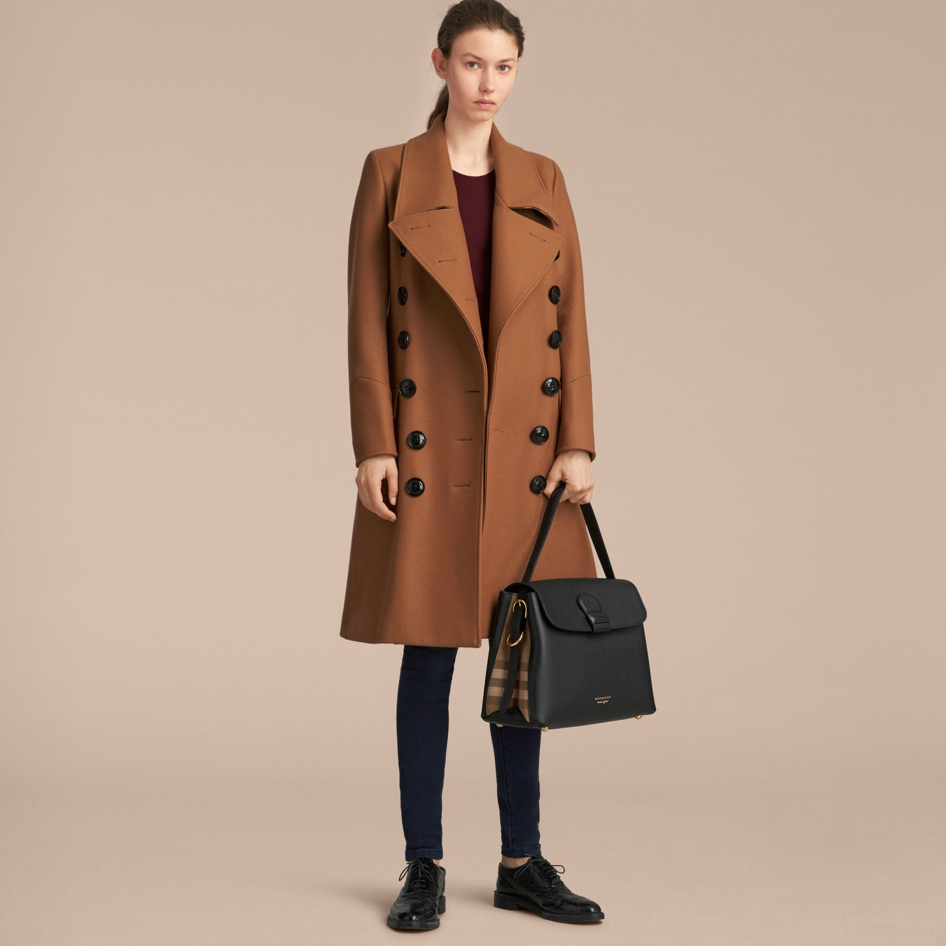 Sac tote medium en cuir grainé et coton House check (Noir) - Femme | Burberry Canada - photo de la galerie 3