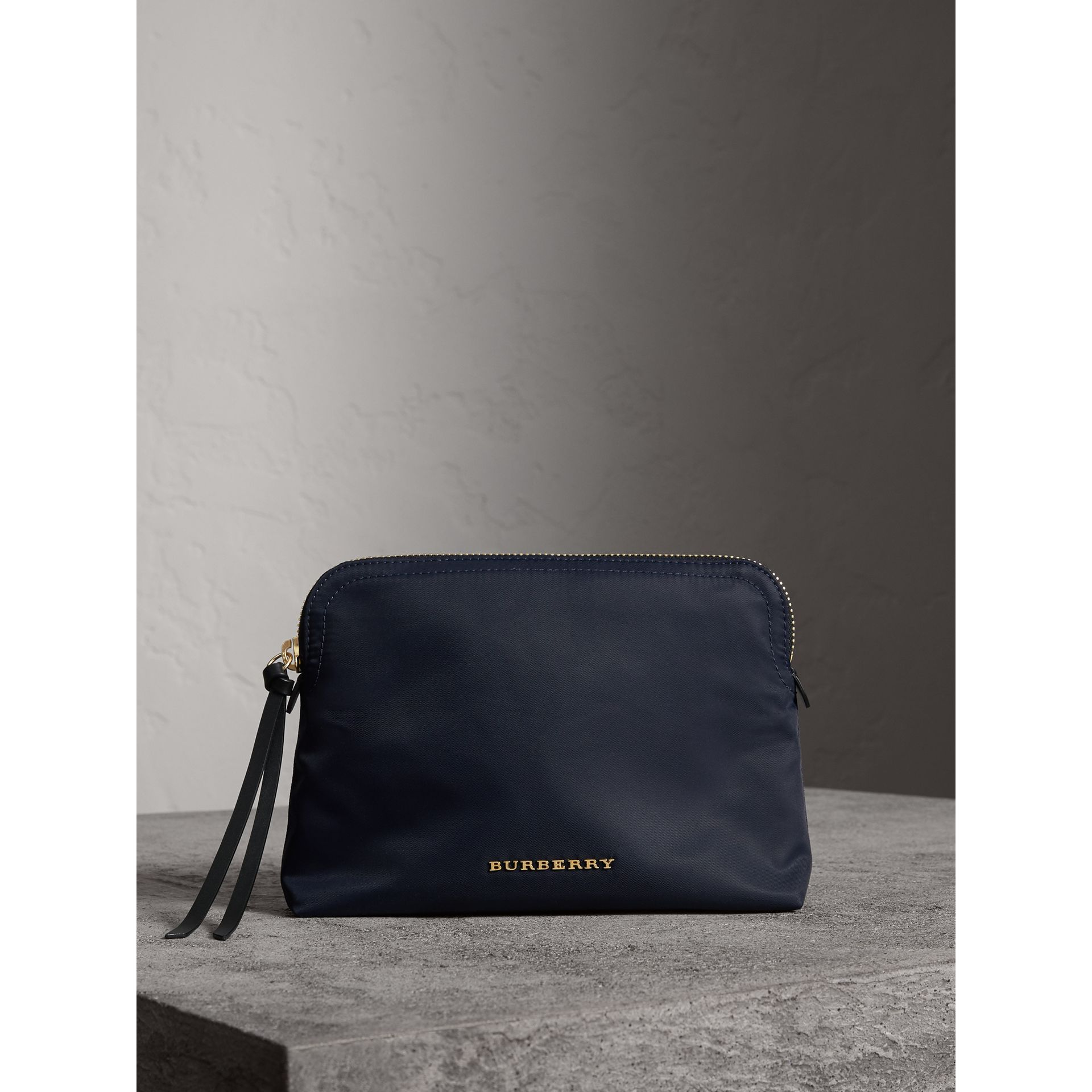 Large Zip-top Technical Nylon Pouch in Ink Blue - Women | Burberry United States - gallery image 0