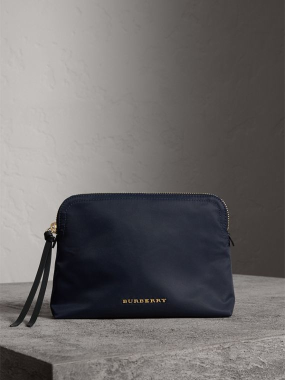 Large Zip-top Technical Nylon Pouch in Ink Blue - Women | Burberry Singapore