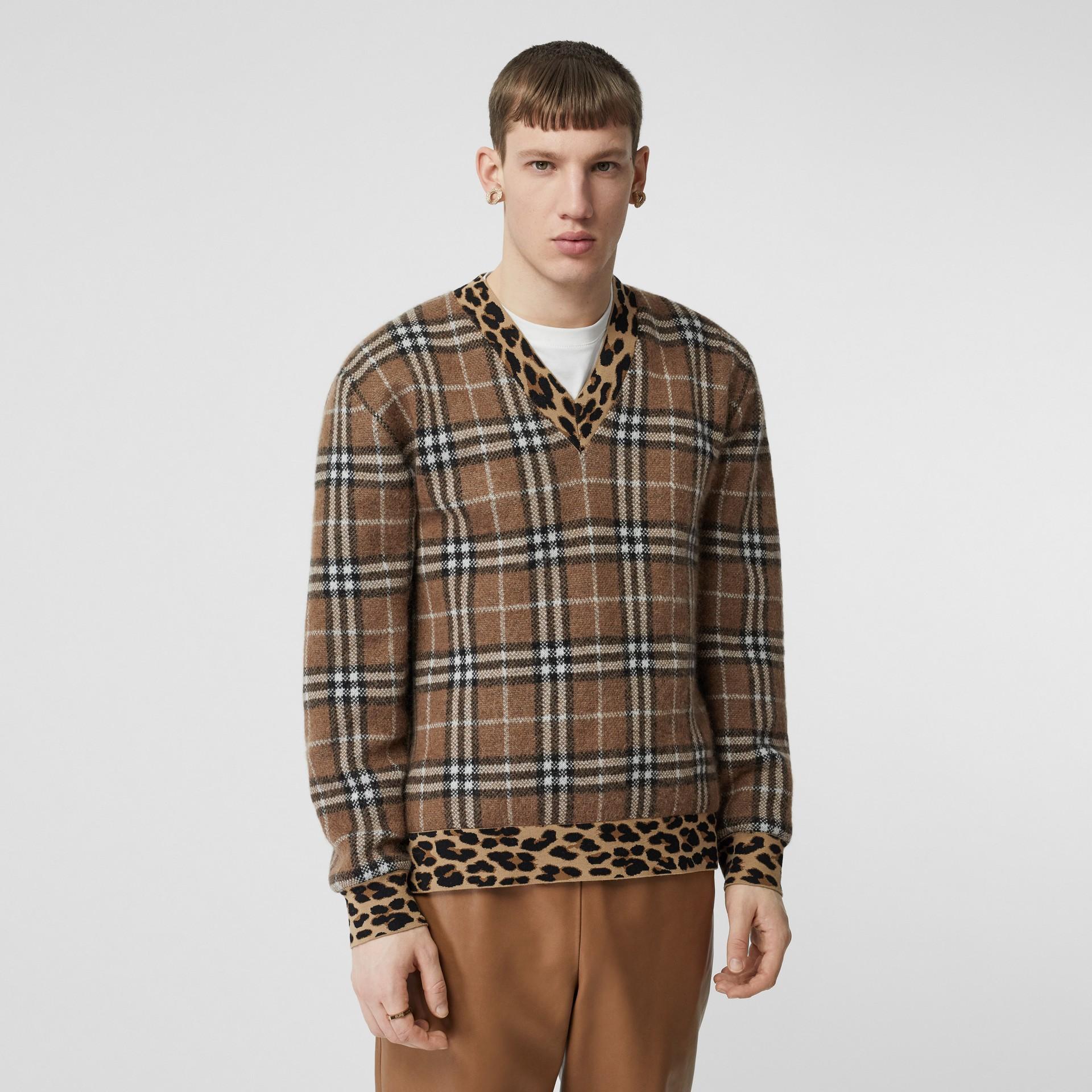 Leopard Detail Vintage Check Cashmere Blend Sweater in Warm Walnut - Men | Burberry United Kingdom - gallery image 0