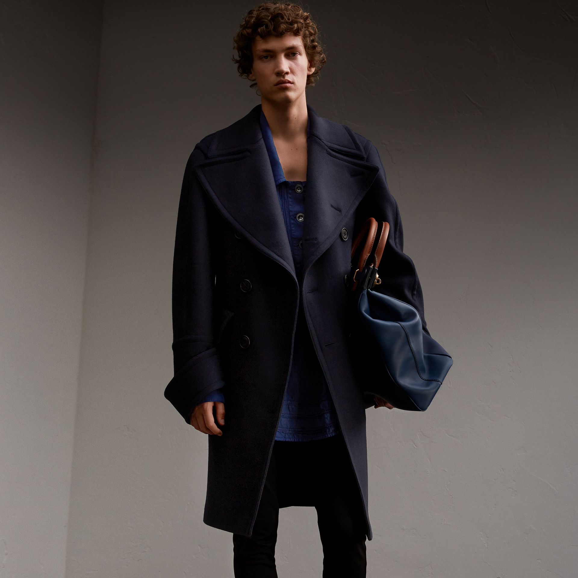 Detachable Cuff Stretch Cashmere Pea Coat - Men | Burberry - gallery image 1