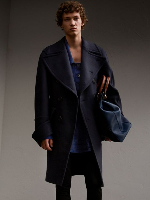 Double-faced Stretch Cashmere Pea Coat with Detachable Cuffs