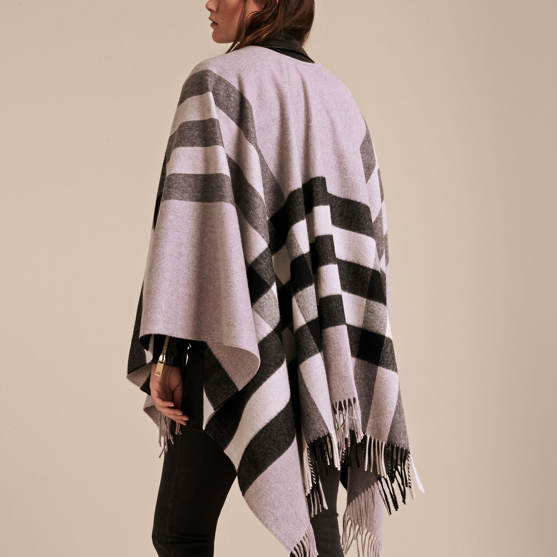 Dusty lilac Check Cashmere and Wool Poncho Dusty Lilac - gallery image 6