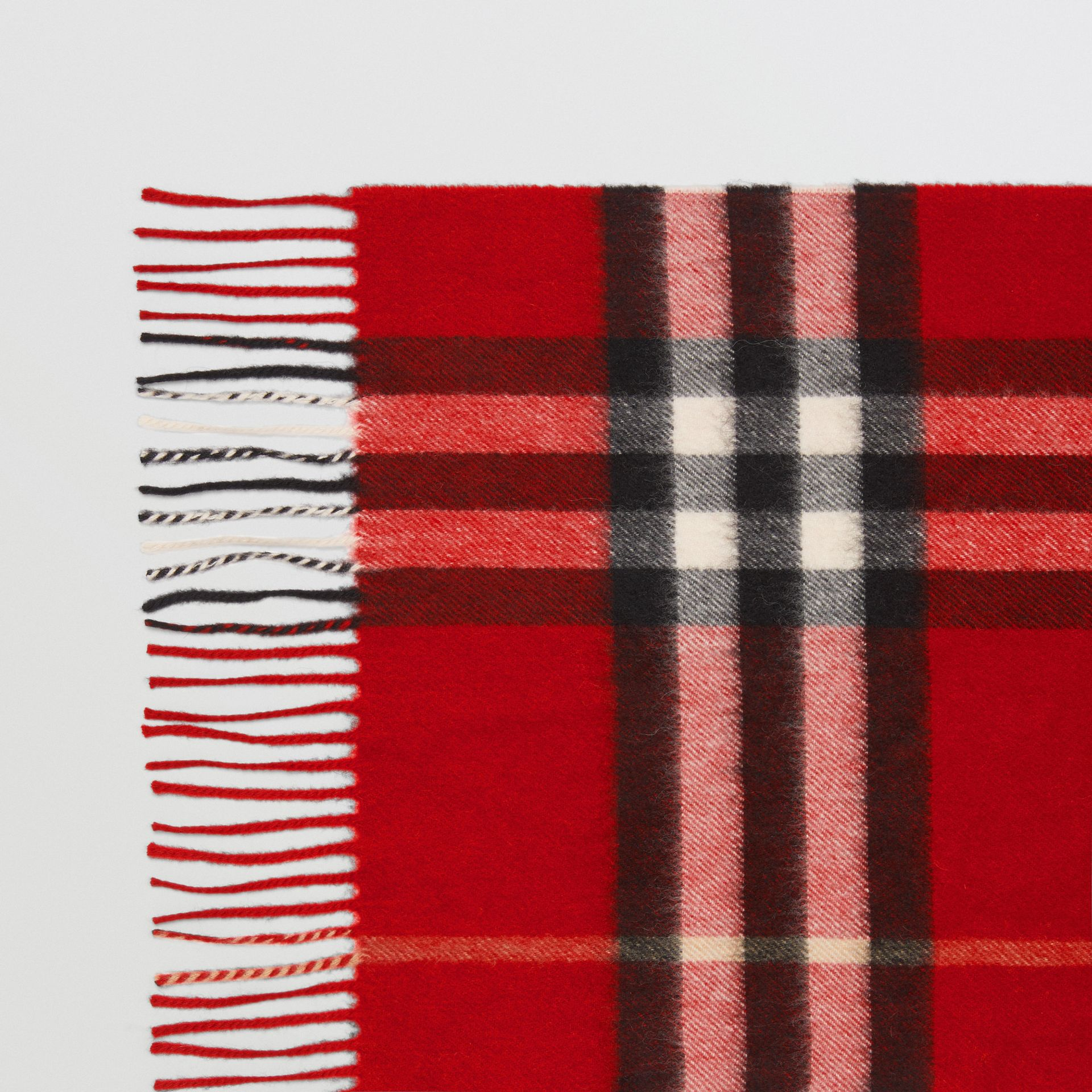 The Classic Check Cashmere Scarf in Parade Red | Burberry United Kingdom - gallery image 1