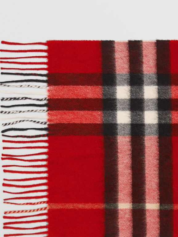 The Classic Check Cashmere Scarf in Parade Red | Burberry United Kingdom - cell image 1