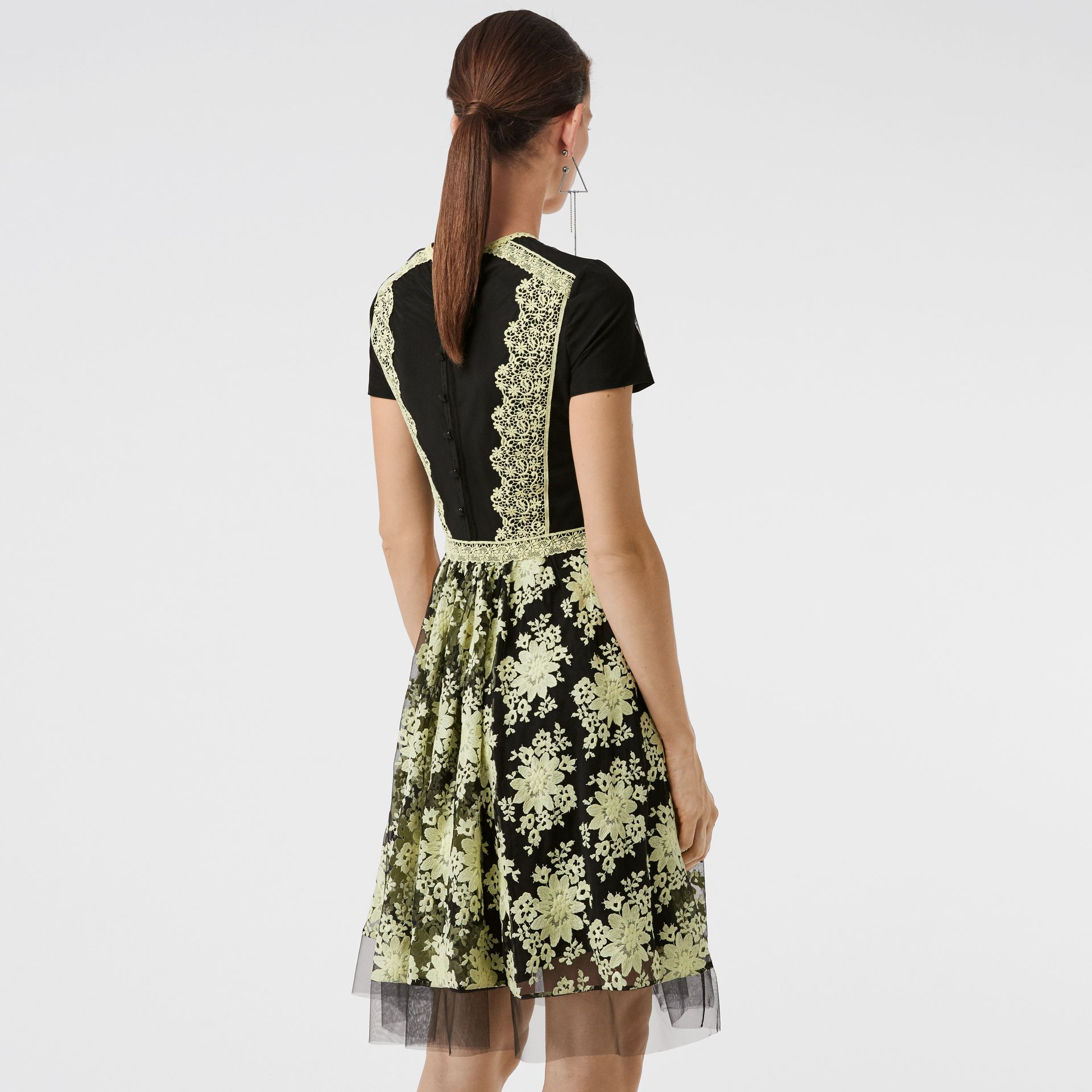 Short-sleeve Embroidered Tulle Dress in Pale Camomile - Women | Burberry Australia - gallery image 2