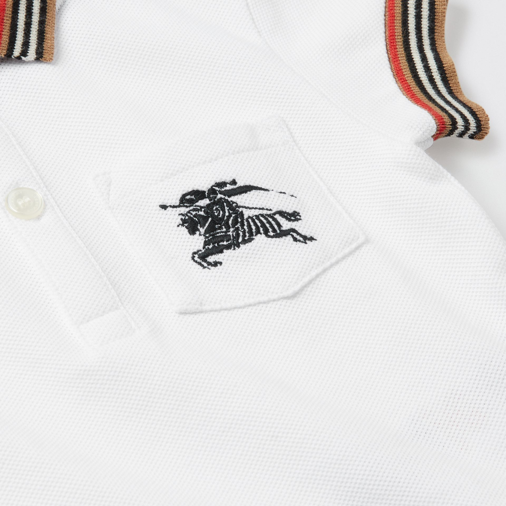 Stripe Detail Cotton Polo Shirt in White - Children | Burberry - gallery image 1