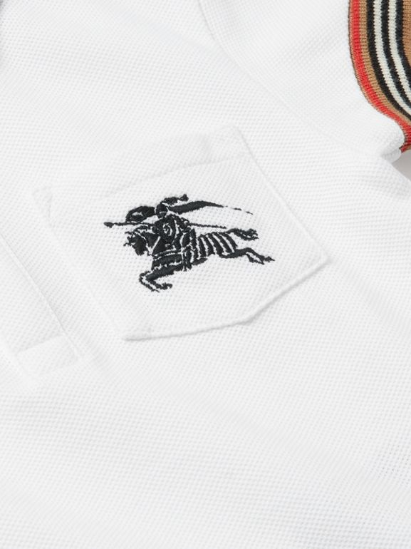 Stripe Detail Cotton Polo Shirt in White - Children | Burberry - cell image 1