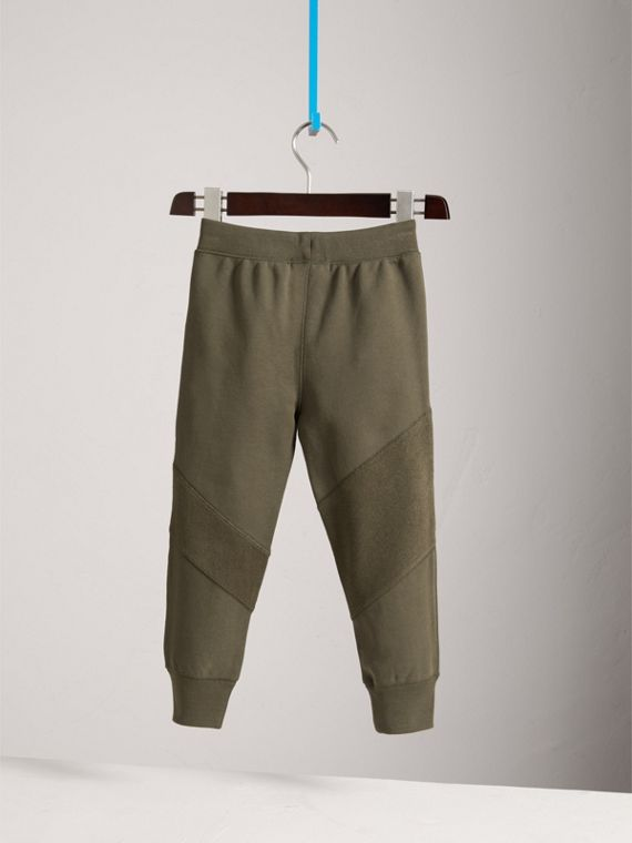 Panelled Cotton Jersey Sweatpants in Olive - Boy | Burberry Australia - cell image 3