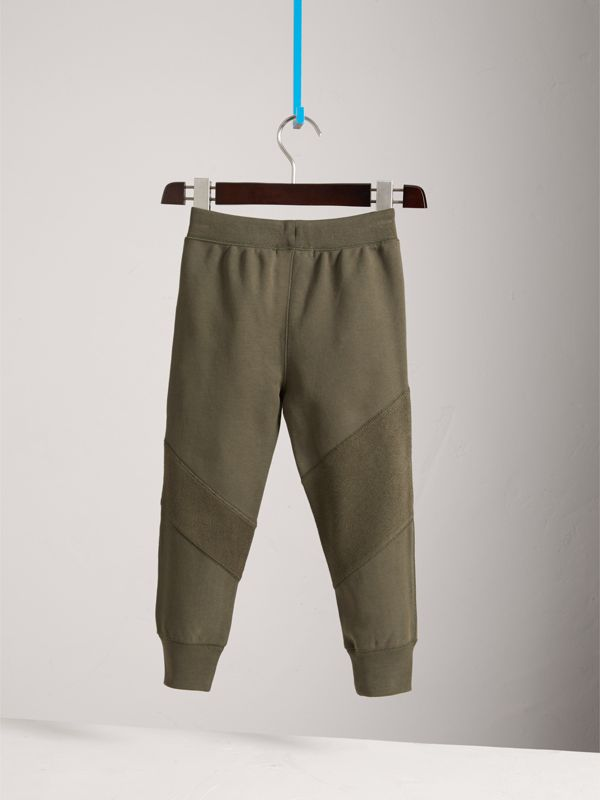 Panelled Cotton Jersey Sweatpants in Olive | Burberry United Kingdom - cell image 3