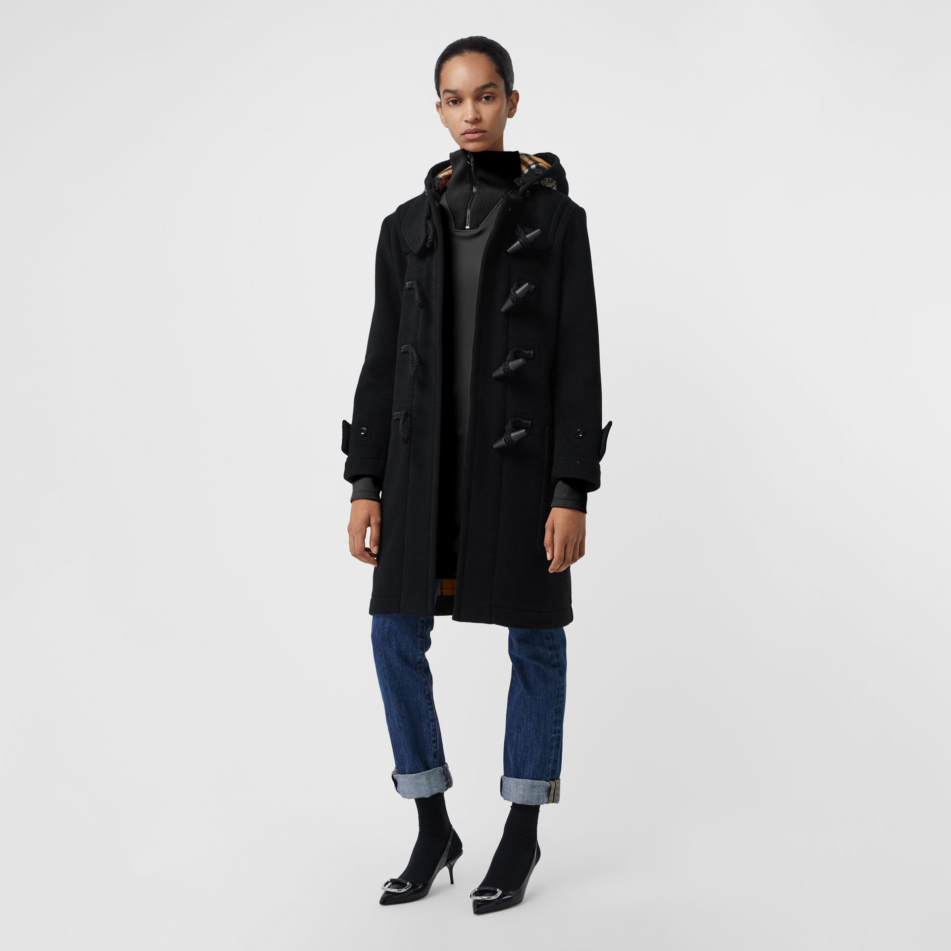 Wool Blend Duffle Coat in Black - Women | Burberry Australia - gallery image 5