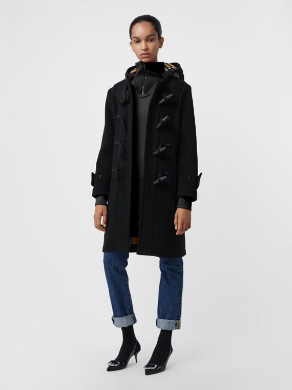 Wool Blend Duffle Coat in Black