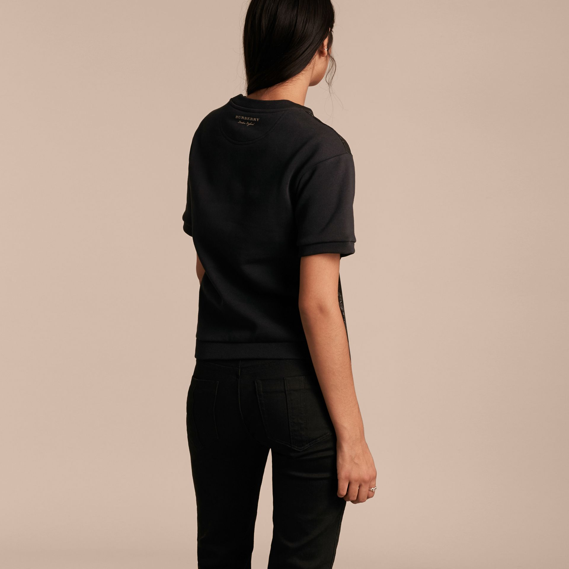 Black Short-sleeved Jacquard-front Cotton Blend Sweatshirt - gallery image 3