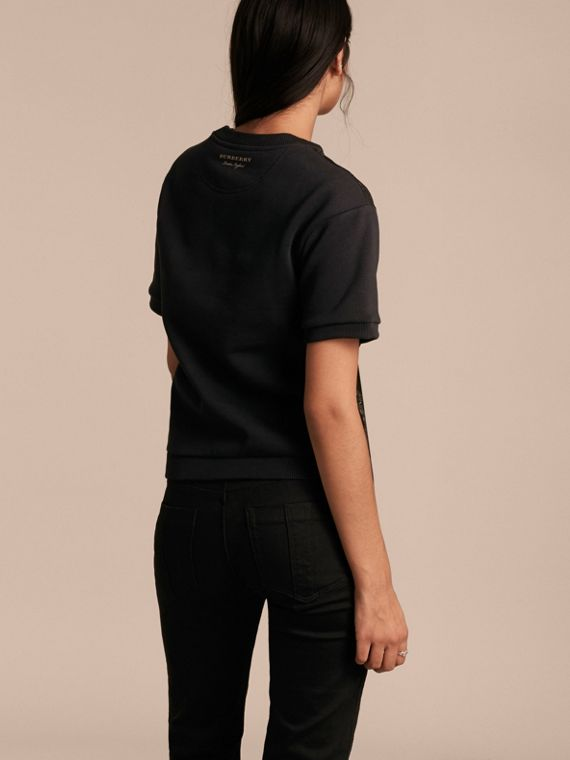 Black Short-sleeved Jacquard-front Cotton Blend Sweatshirt - cell image 2