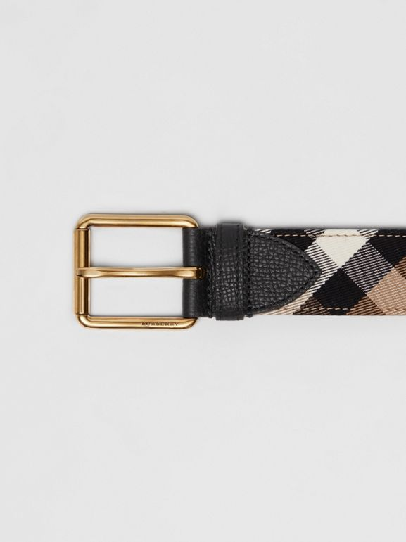 House Check and Leather Belt in Black - Men | Burberry Singapore - cell image 1