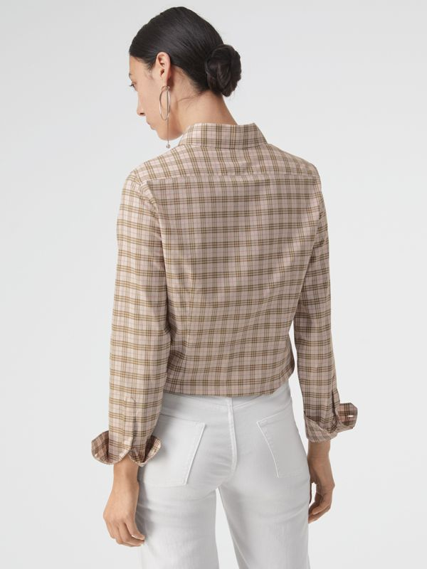 Check Cotton Shirt in Ice Pink - Women | Burberry - cell image 2