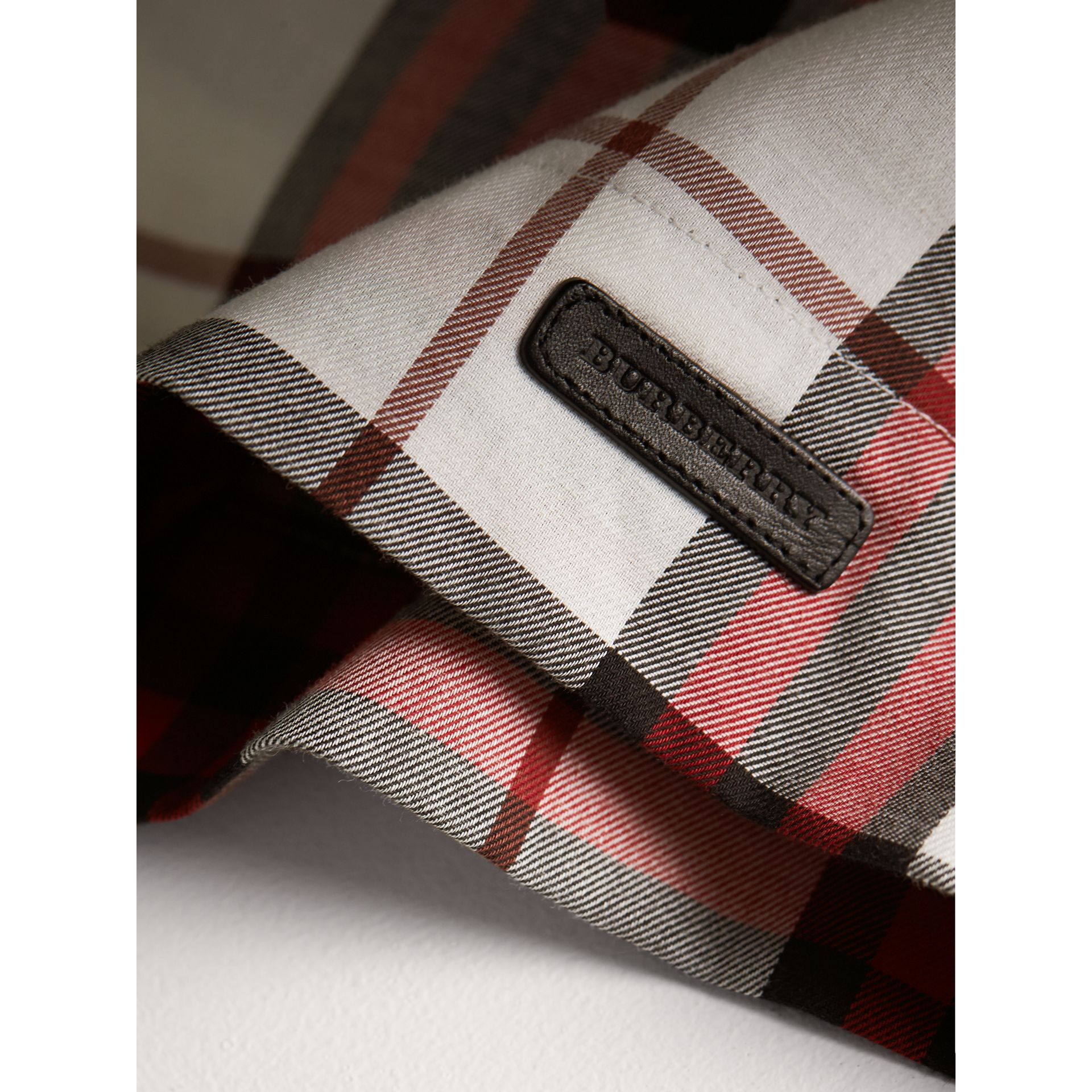 Ruffle Collar Check Cotton Flannel Top in Crimson Red - Girl | Burberry - gallery image 2