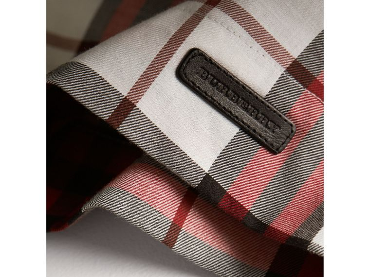 Ruffle Collar Check Cotton Flannel Top in Crimson Red - Girl | Burberry - cell image 1