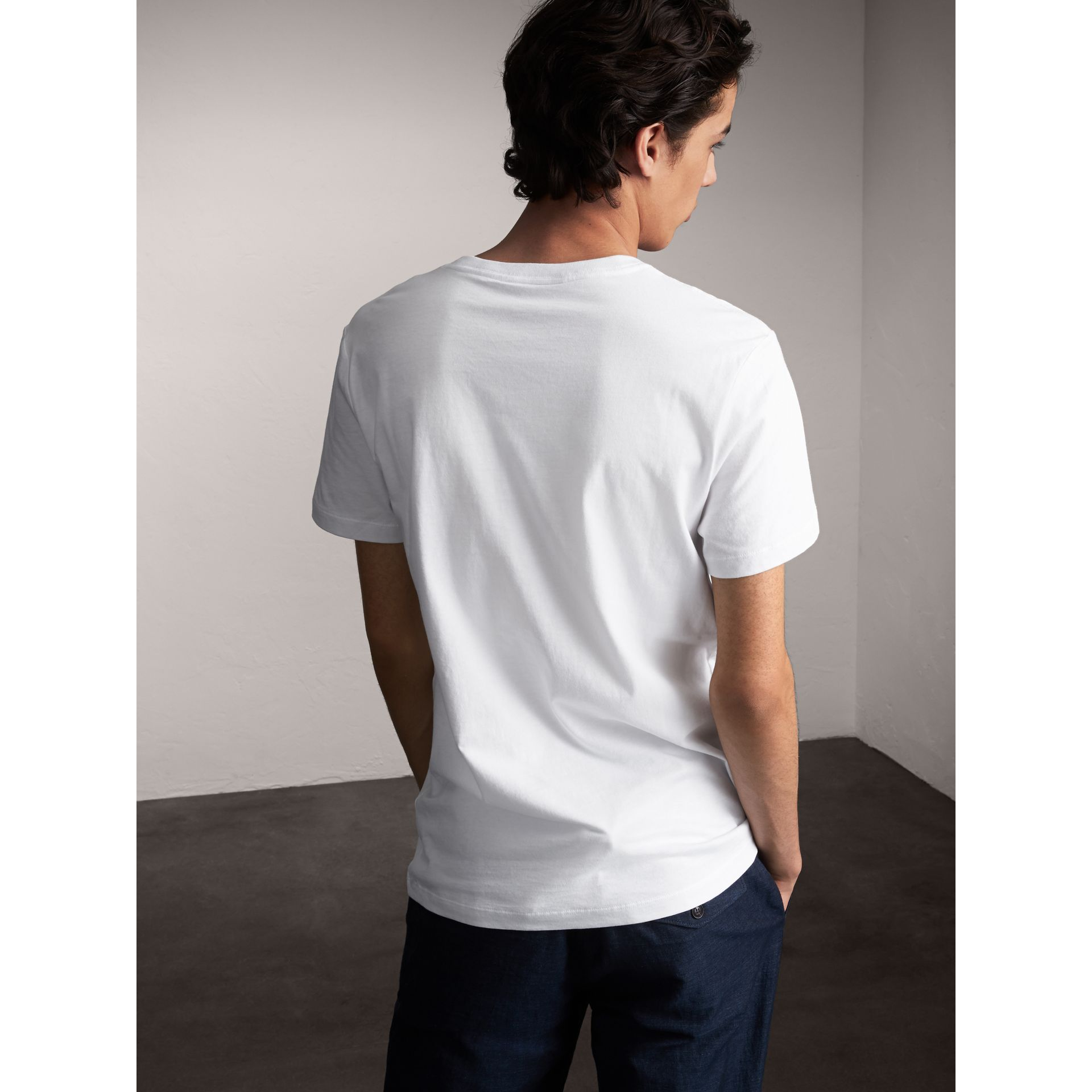 Flocked and Embroidered Beasts Print Cotton T-shirt in White - Men | Burberry United Kingdom - gallery image 2