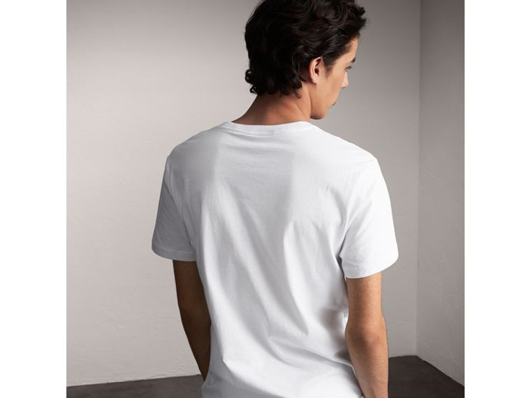 Flocked and Embroidered Beasts Print Cotton T-shirt in White - Men | Burberry - cell image 1