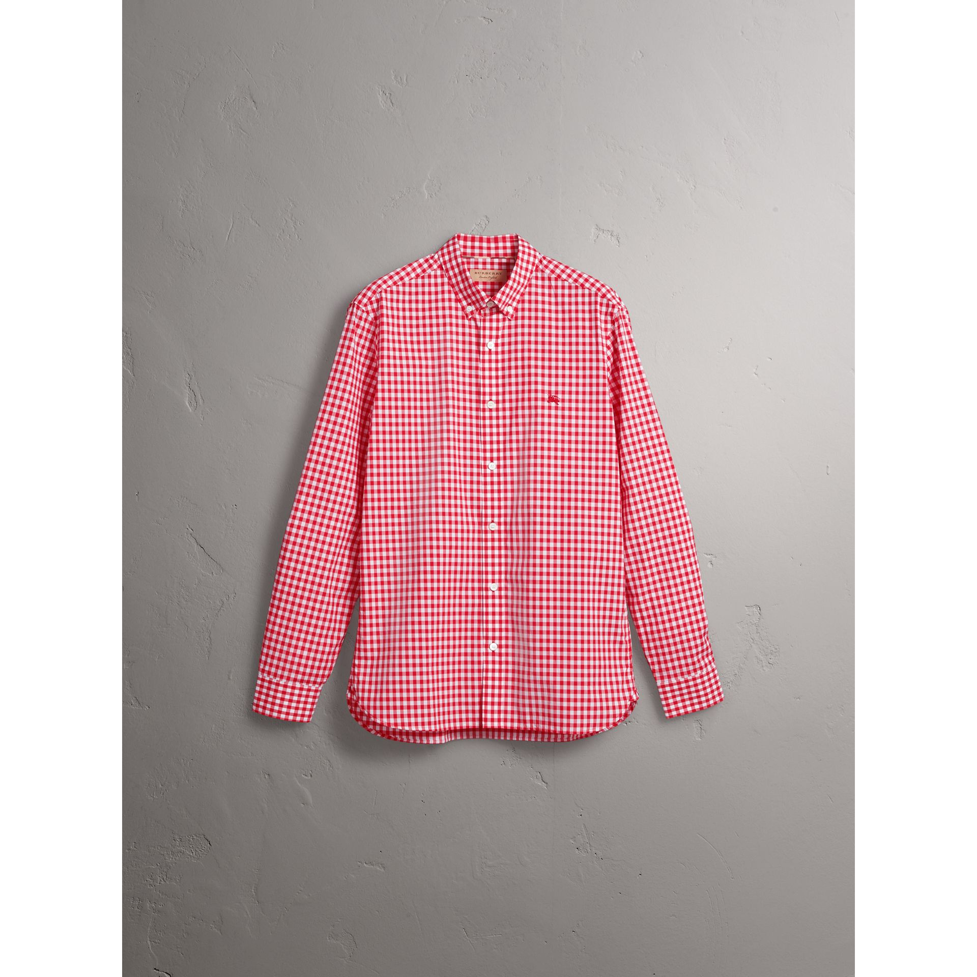 Button-down Collar Gingham Cotton Shirt in Parade Red - Men | Burberry - gallery image 3