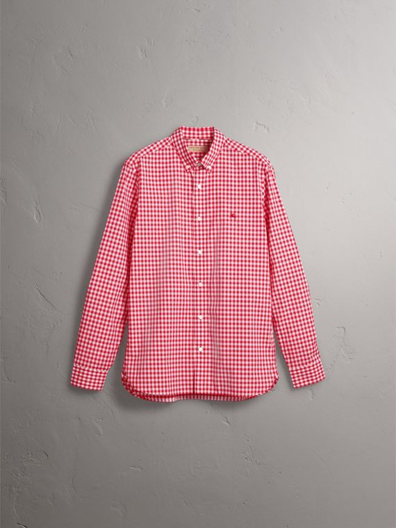 Button-down Collar Gingham Cotton Shirt in Parade Red - Men | Burberry - cell image 3