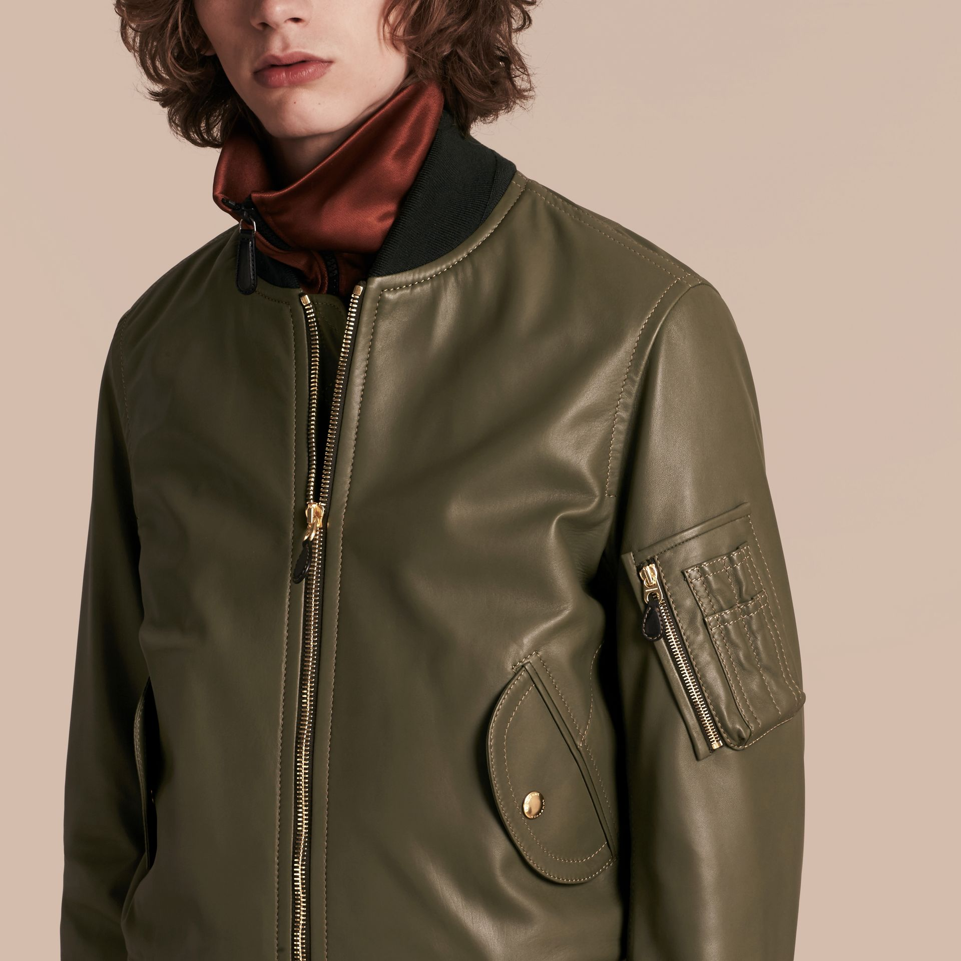 Light military green Lambskin Bomber Jacket - gallery image 5