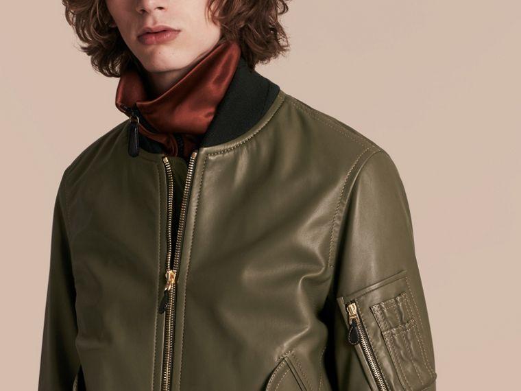 Light military green Lambskin Bomber Jacket - cell image 4